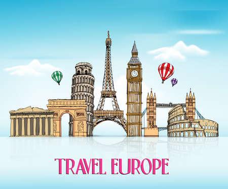 Viajar dibujo de la mano de Europa con famosos y lugares en fondo azul con la reflexión. Ilustración del vector Ilustración de vector