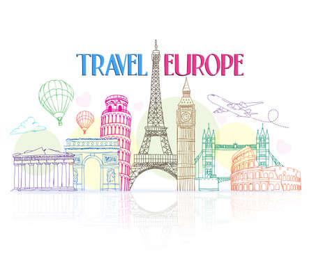 europa: Dibujo a mano colorido Viajes Europa con famosos y lugares en el fondo blanco con la reflexión. Ilustración del vector Vectores