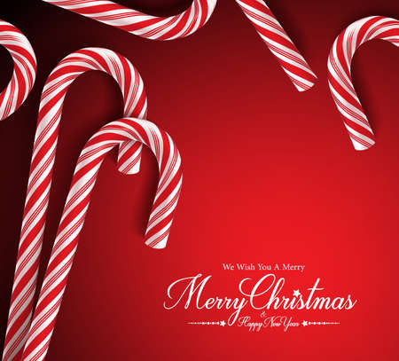 candycane: Merry Christmas Greetings Card with Realistic Candy Cane in Red Background. Vector Illustration Illustration