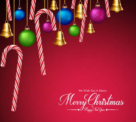 candycane: Merry Christmas Greetings with Decorations and Elements Hanging in Red Background. Vector Illustration