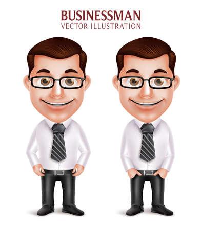 幸せな笑みを浮かべて白い背景で分離された 3 D 現実的なプロフェッショナルなビジネス男文字のセットです。ベクトル図  イラスト・ベクター素材