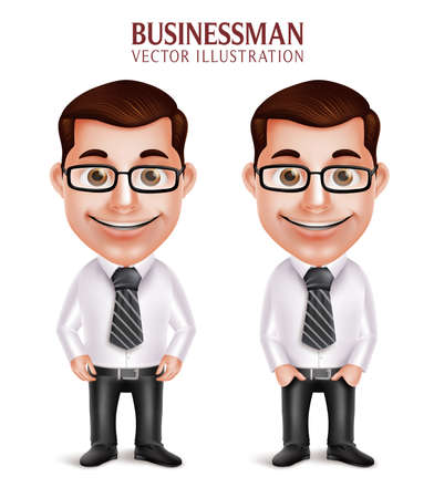 happy business man: Set of 3D Realistic Professional Business Man Character Happy Smiling Isolated in White Background. Vector Illustration