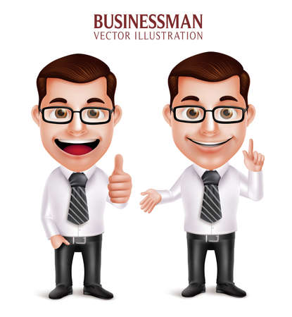 Set of 3D Realistic Professional Business Man Character with Pointing and OK Hand Gesture Isolated in White Background. Vector Illustration Vectores