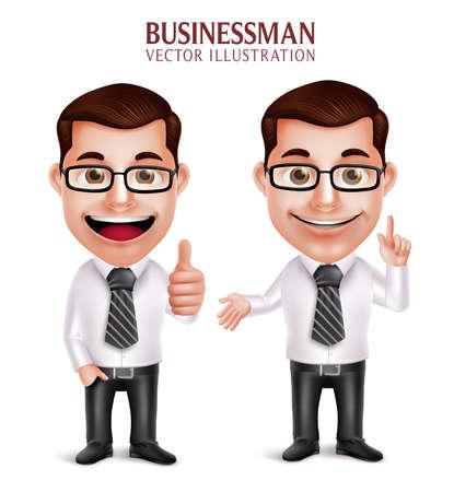 patron: Conjunto de realista en 3D del carácter profesional del hombre de negocios con señalar y OK gesto de mano aislado en el fondo blanco. Ilustración del vector
