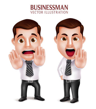 business man vector: Set of 3D Realistic Professional Business Man Character Angry and Afraid Posture Isolated in White Background. Vector Illustration