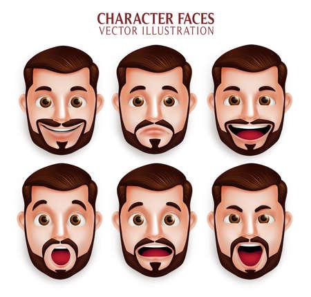 白い背景で分離された異なる表情を持つ 3 D 現実的なひげ男頭のセットです。ベクトル図