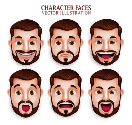 흰색 배경에서 격리하는 다른 얼굴 표정 가진 3D 현실적인 수염 남자 머리의 집합입니다. 벡터 일러스트 레이션