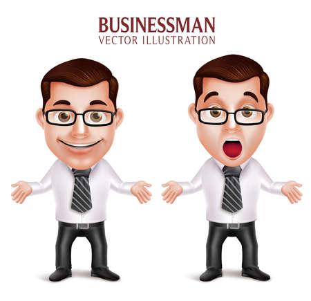 obrero caricatura: Conjunto de realista en 3D del car�cter profesional del hombre de negocios Postura conmovido y sorprendido aislado en el fondo blanco. Ilustraci�n del vector Vectores