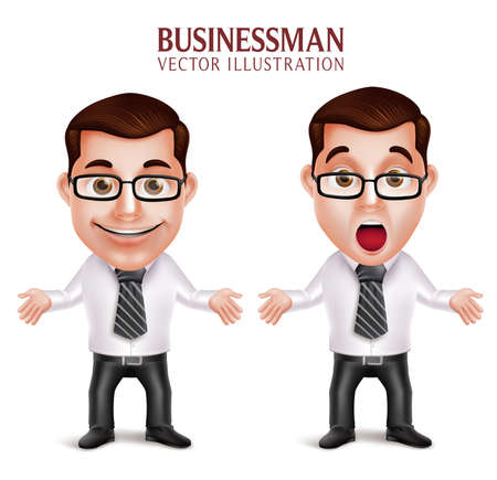 Set of 3D Realistic Professional Business Man Character Shocked and Surprised Posture Isolated in White Background. Vector Illustration Ilustração
