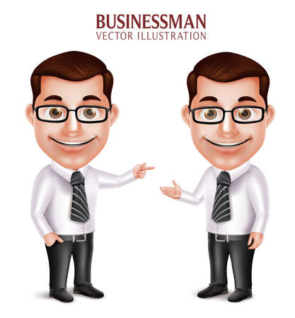 Set of 3D Realistic Professional Business Man Character Pointing and Presenting Isolated in White Background. Vector Illustration Vettoriali