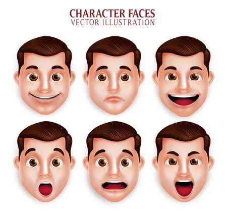 Conjunto de 3D realista hermoso Hombre Cabeza con diferente expresión facial aislada en el fondo blanco. Ilustración vectorial