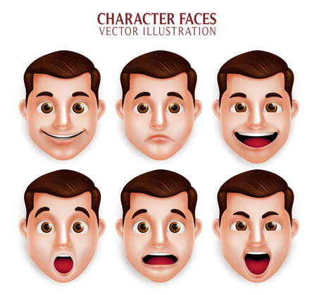 Set of 3D Realistic Handsome Man Head with Different Facial Expression Isolated in White Background. Vector Illustration Vettoriali