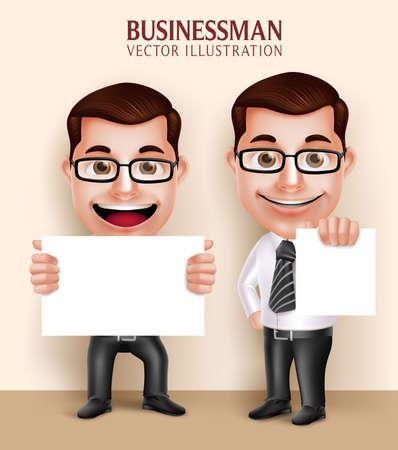 メッセージの白い空白の紙を保持している 3 D 現実的なプロフェッショナルなビジネス男文字のセットです。ベクトル図