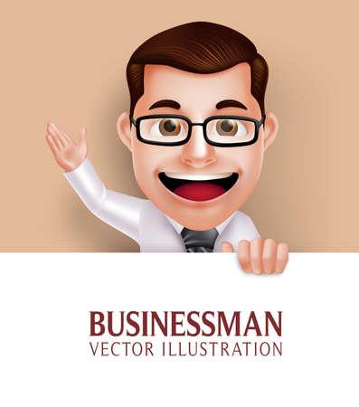 divertido: 3D realista profesional del hombre de negocios del personaje sostiene el Libro Blanco en blanco para el mensaje que agita la mano. Ilustración vectorial