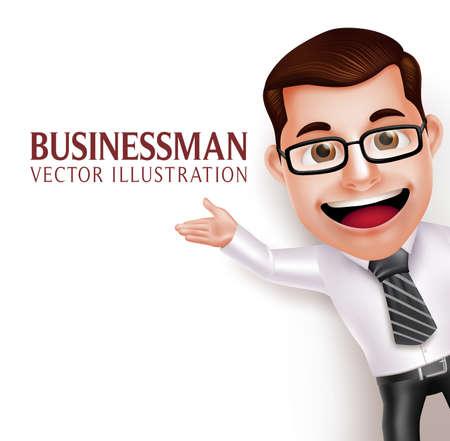 Realistyczne 3D Professional Business Man Charakter Macha Ręka do prezentacji w pustym białym tle. Ilustracja wektorowa