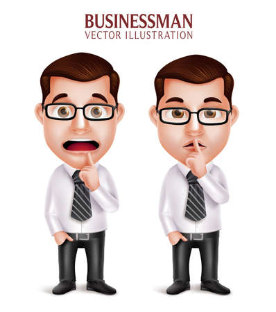 silent: Set of 3D Realistic Professional Business Man Character in Silent Gesture and Worried Isolated in White Background. Vector Illustration Illustration