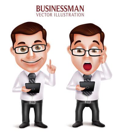 business phone: 3D Realistic Professional Business Man Vector Character Holding Mobile Tablet Shocked and Speaking Isolated in White Background. Vector Illustration