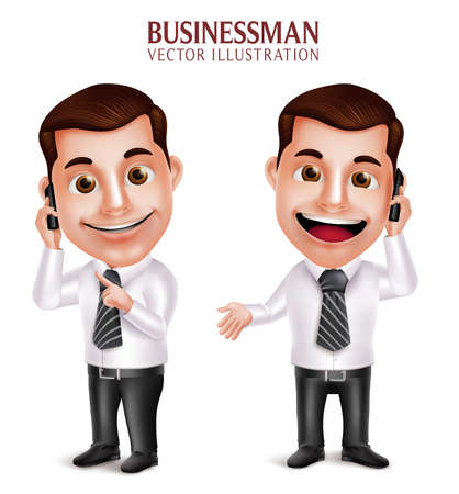 talking phone: 3D Realistic Professional Business Man Vector Character Holding Mobile Phone Happy Talking Isolated in White Background. Vector Illustration