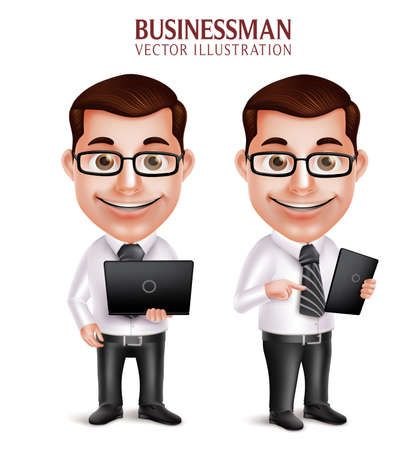 male face: 3D Realistic Professional Business Man Vector Character Holding Laptop and Mobile Tablet Isolated in White Background. Vector Illustration