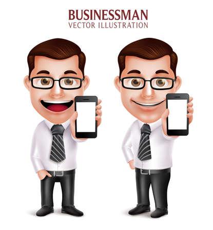 viso uomo: 3D realistica Professional Business Vector Man Character telefono Tenere mobile con schermo vuoto isolato in fondo bianco. illustrazione vettoriale Vettoriali