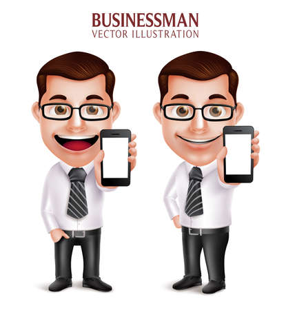hombre caricatura: Realista en 3D del carácter profesional de negocio Vector hombre sosteniendo el teléfono móvil con pantalla en blanco aislado en fondo blanco. Ilustración del vector Vectores