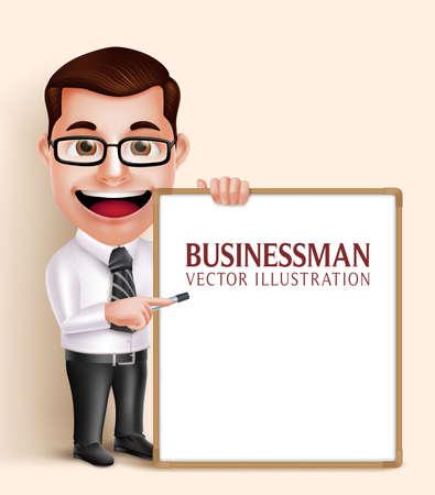3 D のリアルなプロのビジネス男ベクトル文字テキストのプレゼンテーションまたはスペースの空白のホワイト ボードを保持しています。ベクトル図  イラスト・ベクター素材