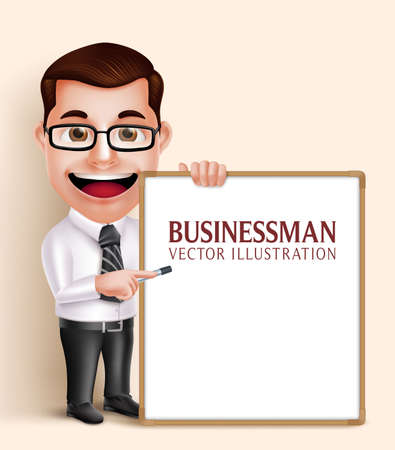 3D Realistic Professional Business Man Vector Character Holding Blank White Board for Presentation or Space for Text. Vector Illustration