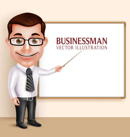 formal: 3D Realistic Professional Teacher Man or Professor Vector Character Teaching in  Blank White Board for Presentation or Space for Text. Vector Illustration