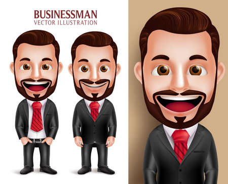 beard man: 3D Realistic Professional Business Man Vector Character Happy in Attractive Corporate Attire Isolated in White Background. Set of Vector Illustration