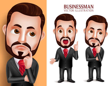 attire: 3D Realistic Professional Business Man Vector Character in Attractive Corporate Attire Thinking Idea Isolated in White Background. Set of Vector Illustration