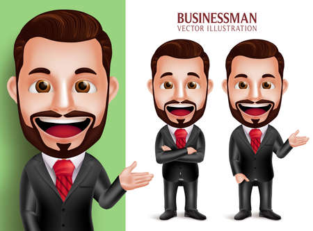 attire: 3D Realistic Professional Business Man Vector Character Smiling in Attractive Corporate Attire for Presentation Isolated in White Background. Set of Vector Illustration