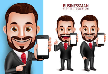 man at the phone: 3D Realistic Professional Business Man Vector Character Holding Mobile Phone with Blank Screen Isolated in White Background. Set of Vector Illustration
