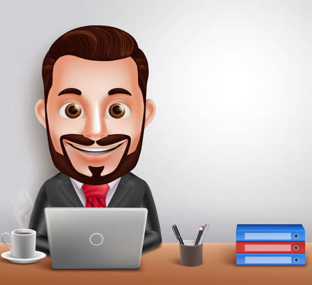3D Realistic Professional Business Man Vector Character Busy Working in Office Desk with Laptop Computer. Vector Illustration Ilustracja