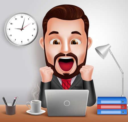 충격과 놀 표현은 노트북 컴퓨터를 사무실 책상에서 작업과 3D 현실적인 전문 비즈니스 남자 벡터 문자입니다. 벡터 일러스트 레이 션 일러스트