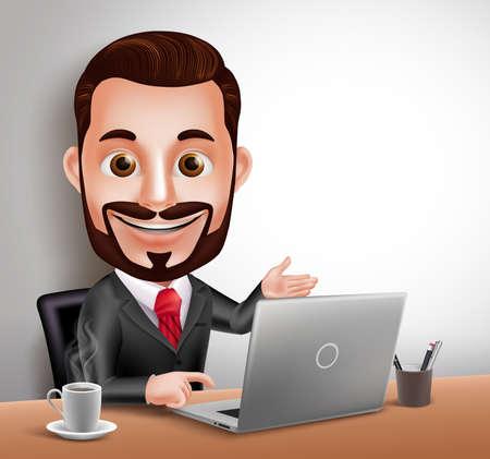 노트북 컴퓨터와 사무실 책상에 3D 현실적인 전문 비즈니스 남자 벡터 문자 행복 앉아 및 작업. 벡터 일러스트 레이 션