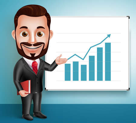3D Realistic Professional Business Man Vector Character Happy Speaking and Showing Chart Presentation in White Board. Vector Illustration