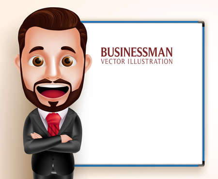 man standing: 3D Realistic Professional Business Man Vector Character Happy Speaking for Presentation with Empty Blank White Board. Vector Illustration