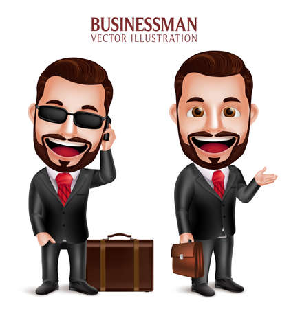 happy business man: 3D Realistic Professional Business Man Vector Character Happy Traveling with Suitcase Isolated in White Background. Set of Vector Illustration