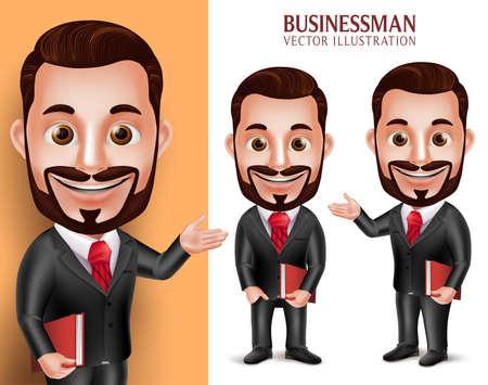 Realistische 3D Professional Advocaat Man Student Vector karakter gelukkig Holding Book geïsoleerd in witte achtergrond. Set van Vector Illustration