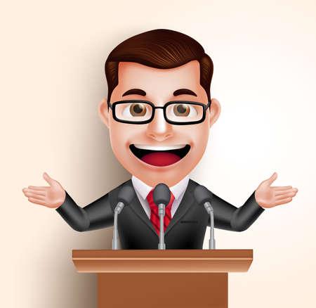 회의 연설에서 3D 벡터 문자 행복 정치인 남자 또는 스피커입니다. 벡터 일러스트 레이 션