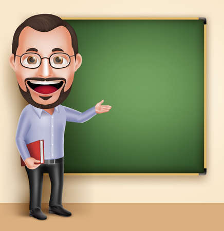 blackboard cartoon: 3D Realistic Professional Old Professor Teacher Man Character Speaking or Talking with Blank Blackboard Isolated in White Background. Illustration
