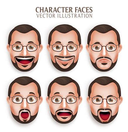 Conjunto de 3D realista Viejo Hombre Barba Cabeza con diferente expresión facial aislada en el fondo blanco. Ilustración Ilustración de vector