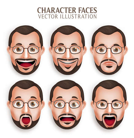 Reeks 3D Realistische Oude Beard Man Head met verschillende Gezichtsuitdrukking geïsoleerd in witte achtergrond. Illustratie Vector Illustratie