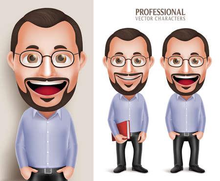 profesor: Conjunto de realista en 3D del carácter profesional del Viejo Maestro Profesor Hombre que sostiene el libro con las lentes aisladas en el fondo blanco. Ilustración