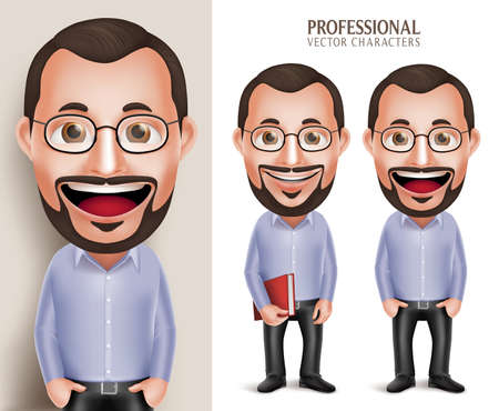 Set of 3D Realistic Professional Old Teacher Professor Man Character Holding Book with Eyeglasses Isolated in White Background. Illustration
