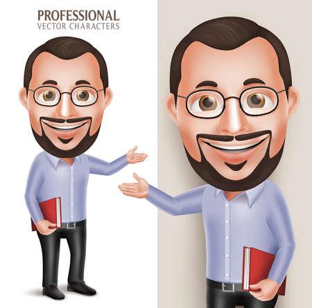 3 D リアルなプロ古い教授先生男キャラクター ホワイト バック グラウンドで分離された眼鏡が付いている本を保持しています。図