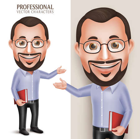 3D Realistic Professional Old Professor Teacher Man Character Holding Book with Eyeglasses Isolated in White Background. Illustration