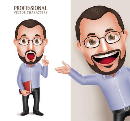 3 D リアルなプロ面白い古い教授先生男文字白い背景で分離された眼鏡が付いている本を保持しています。図