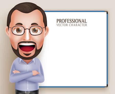 3D 현실적인 전문 올드 교수 교사 남자는 문자 말하기 또는 흰색 배경에 고립 된 빈 흰색 보드와 함께 이야기. 삽화