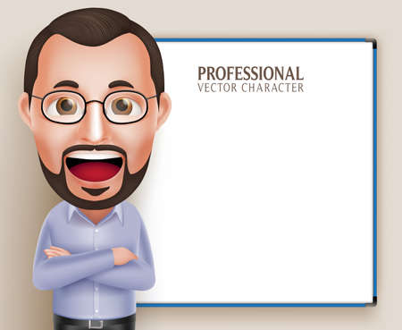 3D Realistic Professional Old Professor Teacher Man Character Speaking or Talking with Blank White Board Isolated in White Background.  Illustration